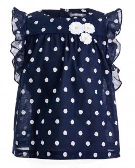 Синяя блузка в белый горошек OUTLET