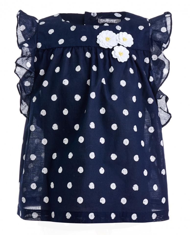 Синяя блузка в белый горошек
