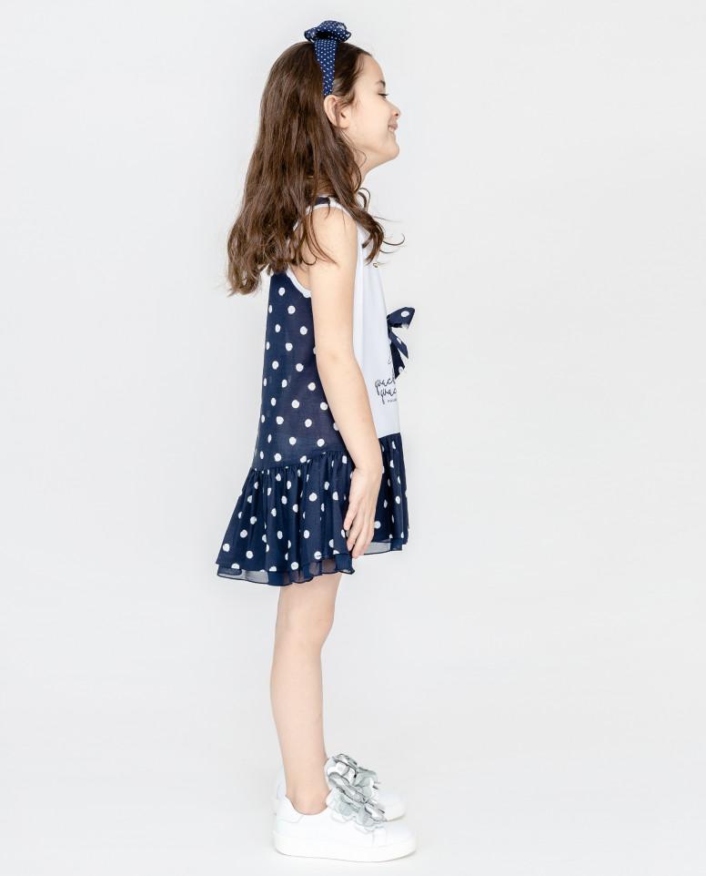 Синее платье в горошек с принтом
