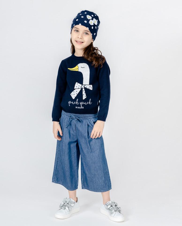 Голубые джинсы-кюлоты