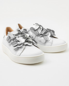 Decorated white leather sneakers Gulliver