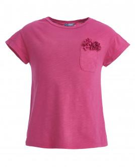 Розовая футболка, декорированная цветами OUTLET