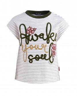 Полосатая футболка с декором OUTLET