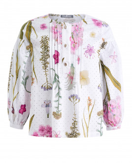 Белая блузка с цветочным принтом OUTLET