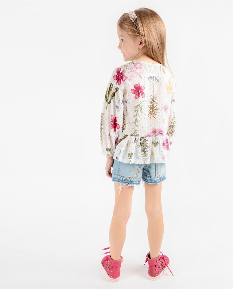 Белая блузка с цветочным принтом