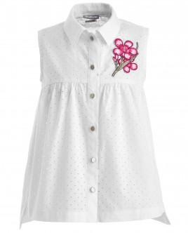 Белая блузка с нашивкой OUTLET