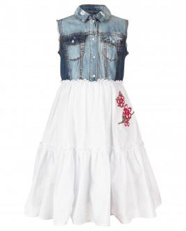 Джинсовое платье с нашивками OUTLET
