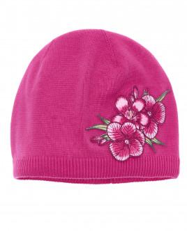 Розовая вязаная шапка с декором OUTLET