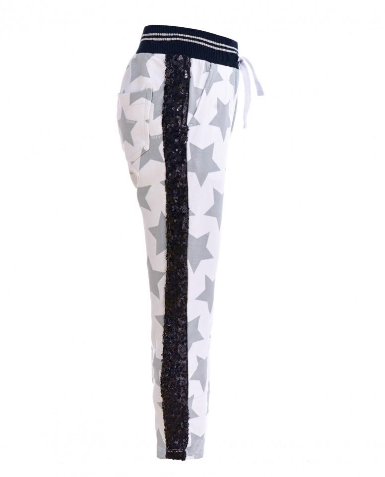 Белые брюки из футера с принтом