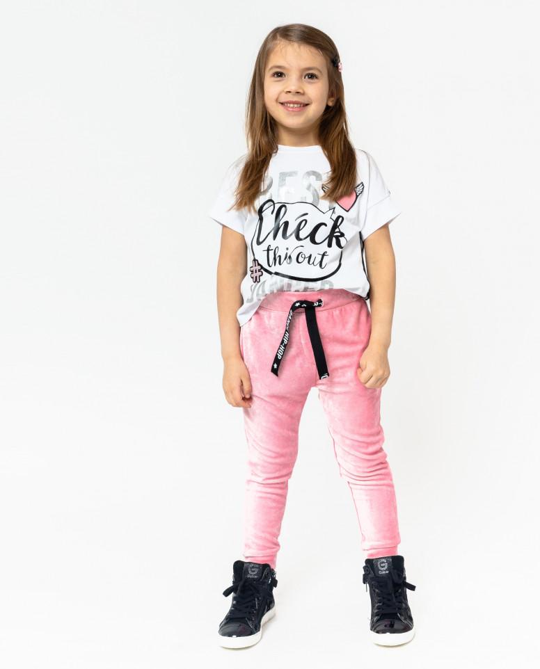 Розовые велюровые брюки