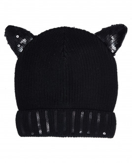 Черная вязаная шапка с ушками OUTLET