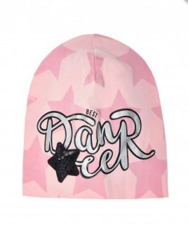 Розовая трикотажная шапка с орнаментом Звезды OUTLET