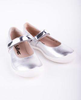Серебристые кожаные туфли OUTLET