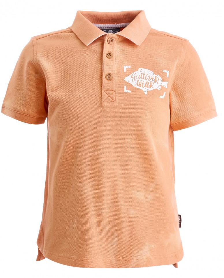 Оранжевое поло с декором