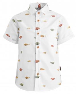 Белая рубашка с орнаментом Диковинные рыбы OUTLET