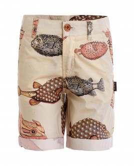Бежевые шорты с орнаментом Диковинные рыбы