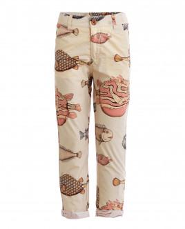 Бежевые брюки с орнаментом Диковинные рыбы Gulliver OUTLET