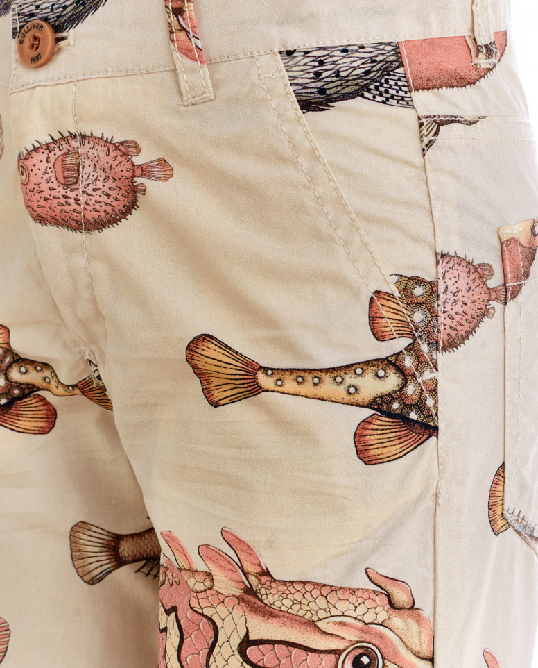 Бежевые брюки с орнаментом Диковинные рыбы