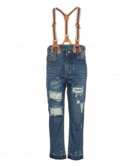 Синие джинсы с подтяжками OUTLET