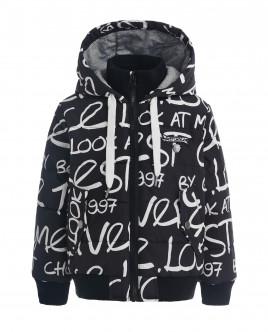 Черная демисезонная куртка с орнаментом OUTLET