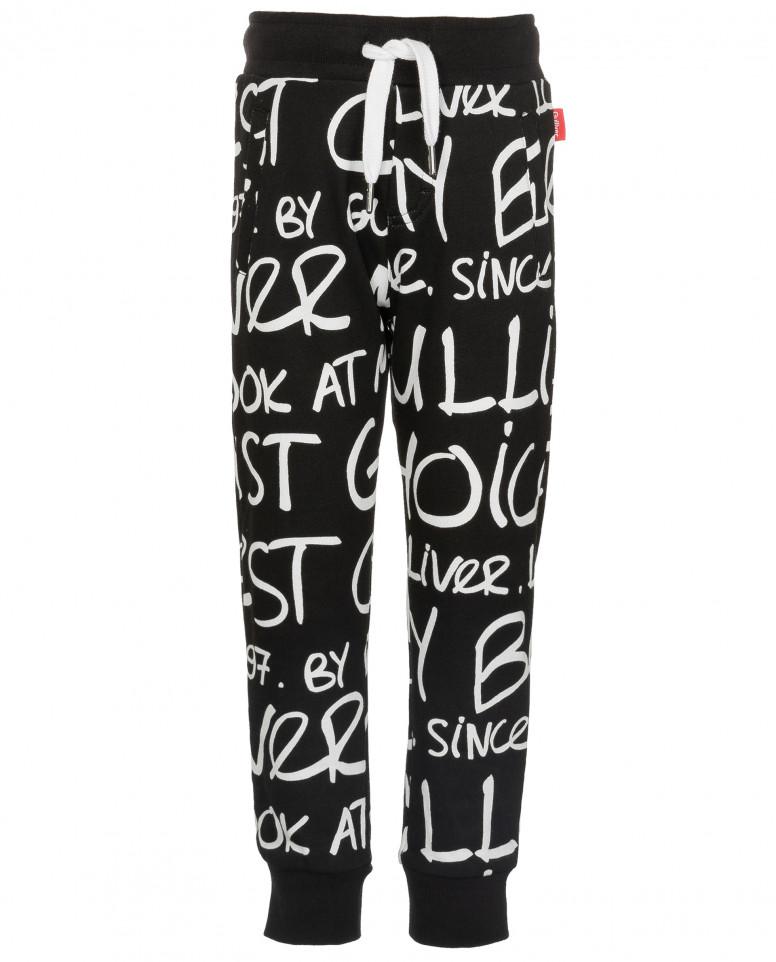Черные брюки из футера с орнаментом