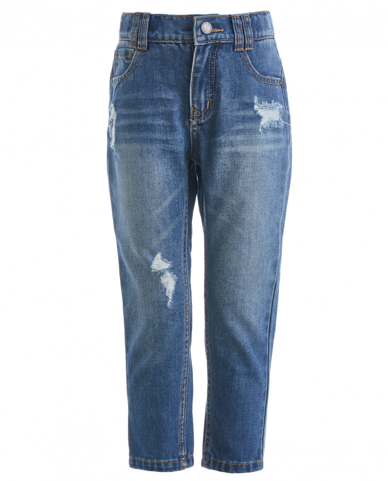 Голубые джинсы с потертостями