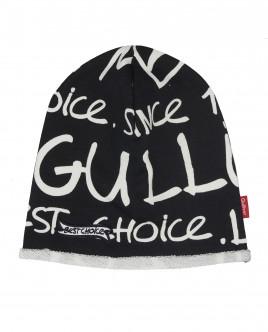 Черная трикотажная шапка со шрифтовым орнаментом Gulliver OUTLET