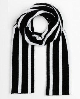 Black and white striped knitted scarf Gulliver