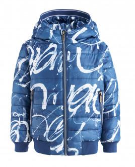 Синяя демисезонная куртка с орнаментом OUTLET