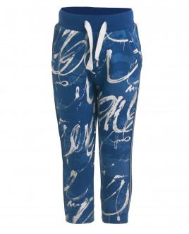 Синие трикотажные брюки с орнаментом OUTLET