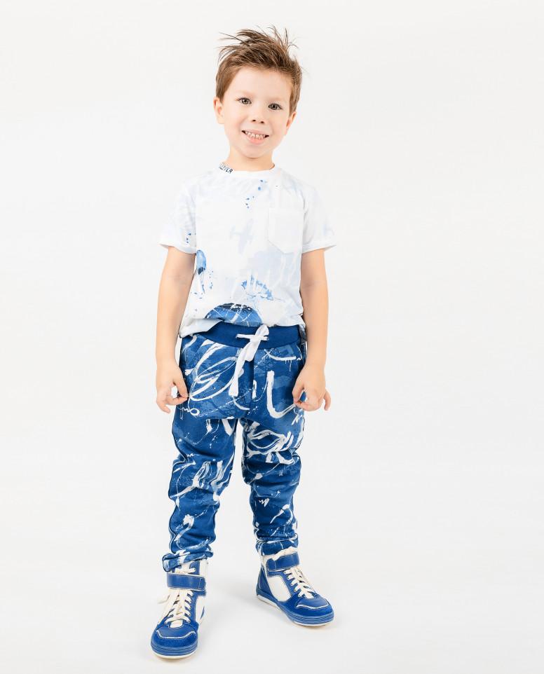 Синие трикотажные брюки с орнаментом