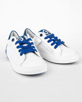 Белые кожаные кеды с синей отделкой Gulliver OUTLET