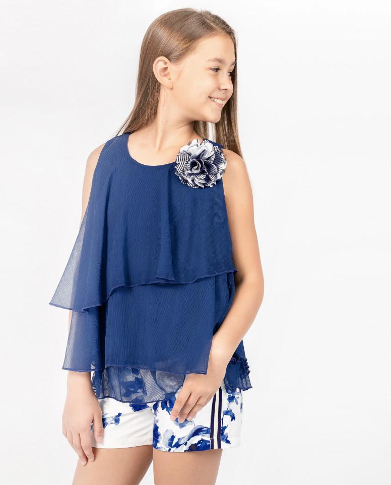 Синяя блузка с декором Gulliver