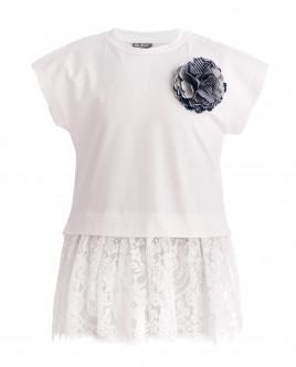 Белая футболка с баской OUTLET