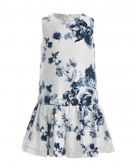Белое платье с орнаментом Синие розы OUTLET