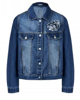 Джинсовая куртка с декоративным цветком OUTLET