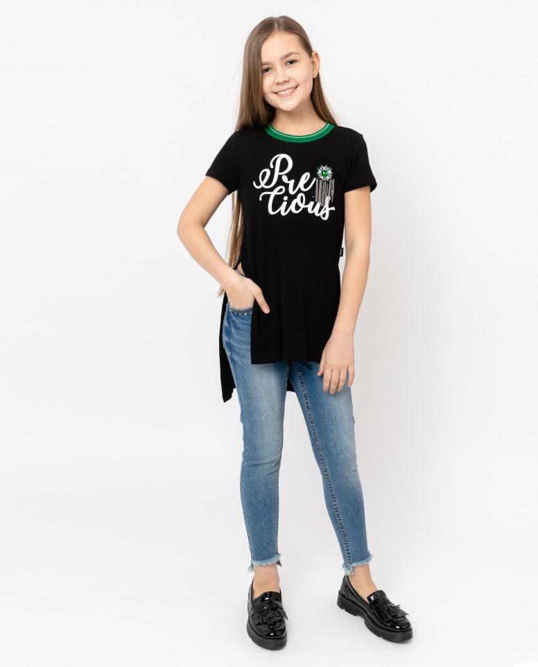 Удлиненная черная футболка