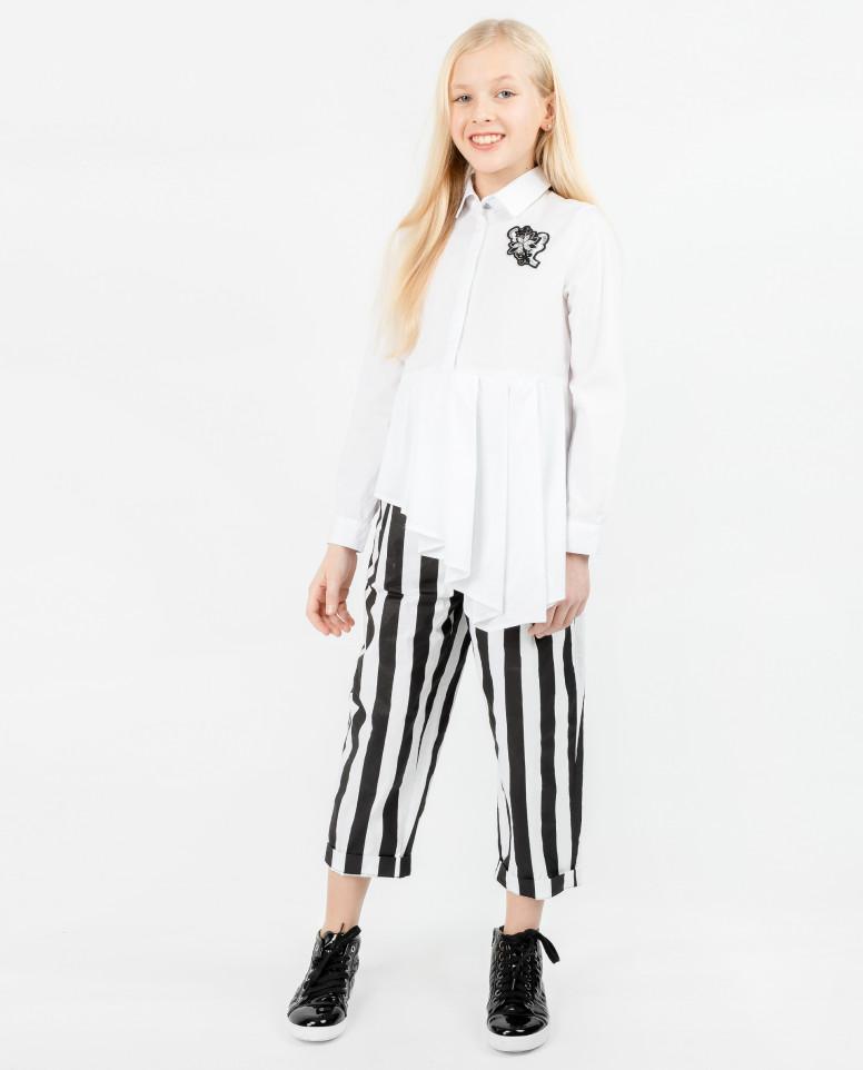 Белая ассиметричная блузка