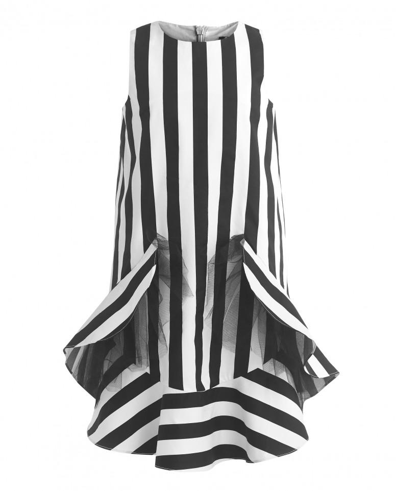 Полосатое платье с воланом