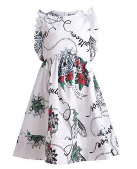 Белое платье с орнаментом Королевские ценности OUTLET