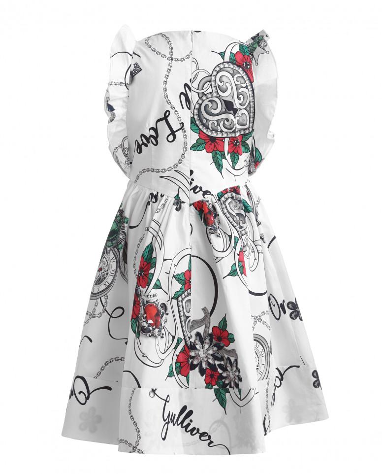 Белое платье с орнаментом Королевские ценности