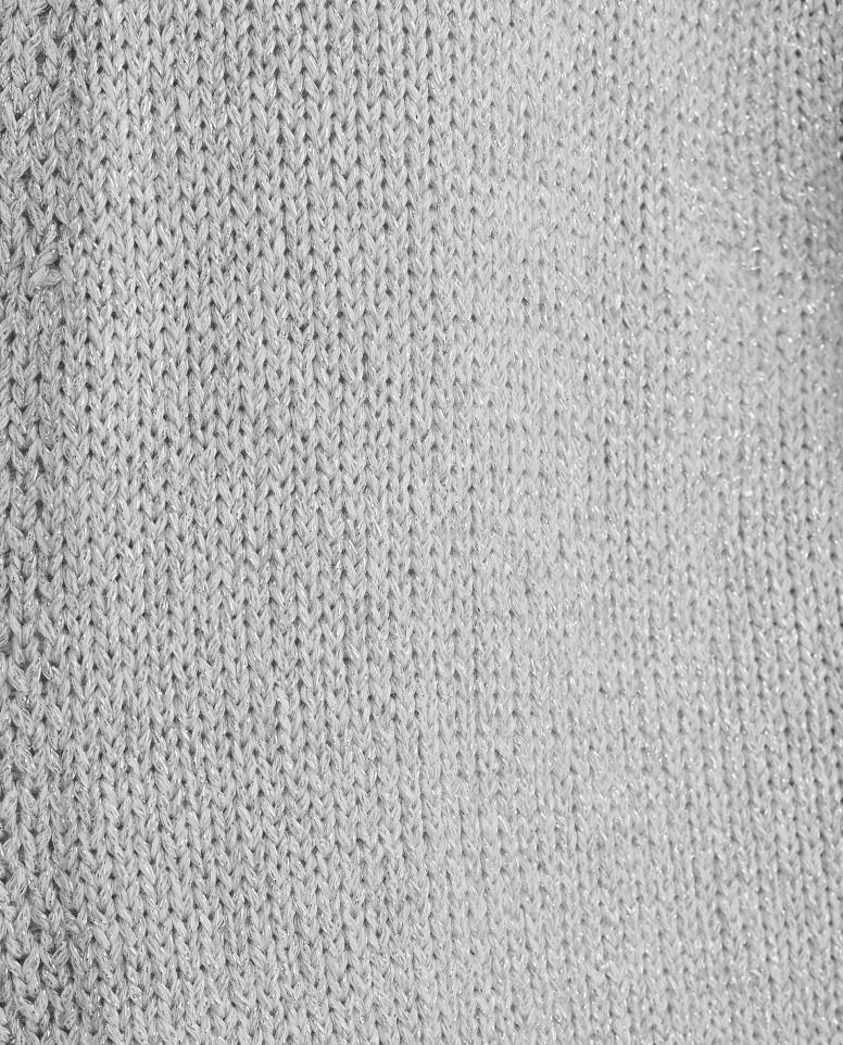 Серый вязаный кардиган с люрексом