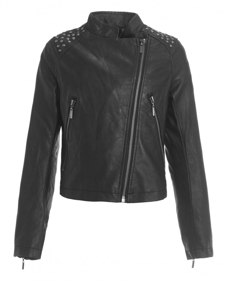 Черная куртка-косуха из эко-кожи