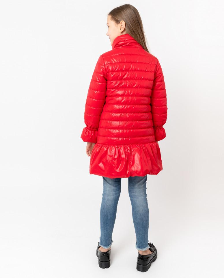 Красное пальто с воланом