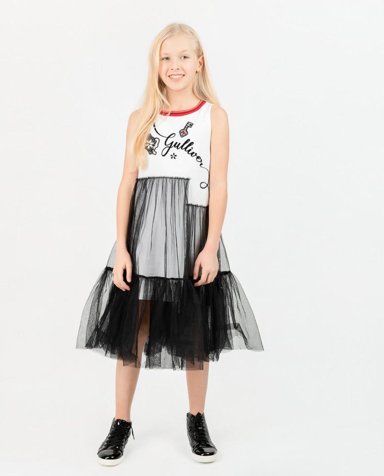 Черно-белое платье с декором