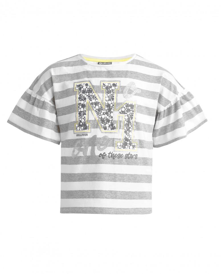 Полосатая футболка с серебристым декором