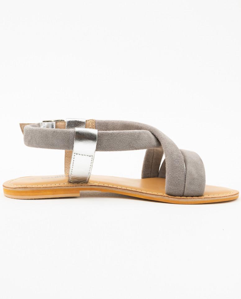 Серые замшевые сандалии