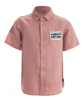 Розовая рубашка с коротким рукавом OUTLET