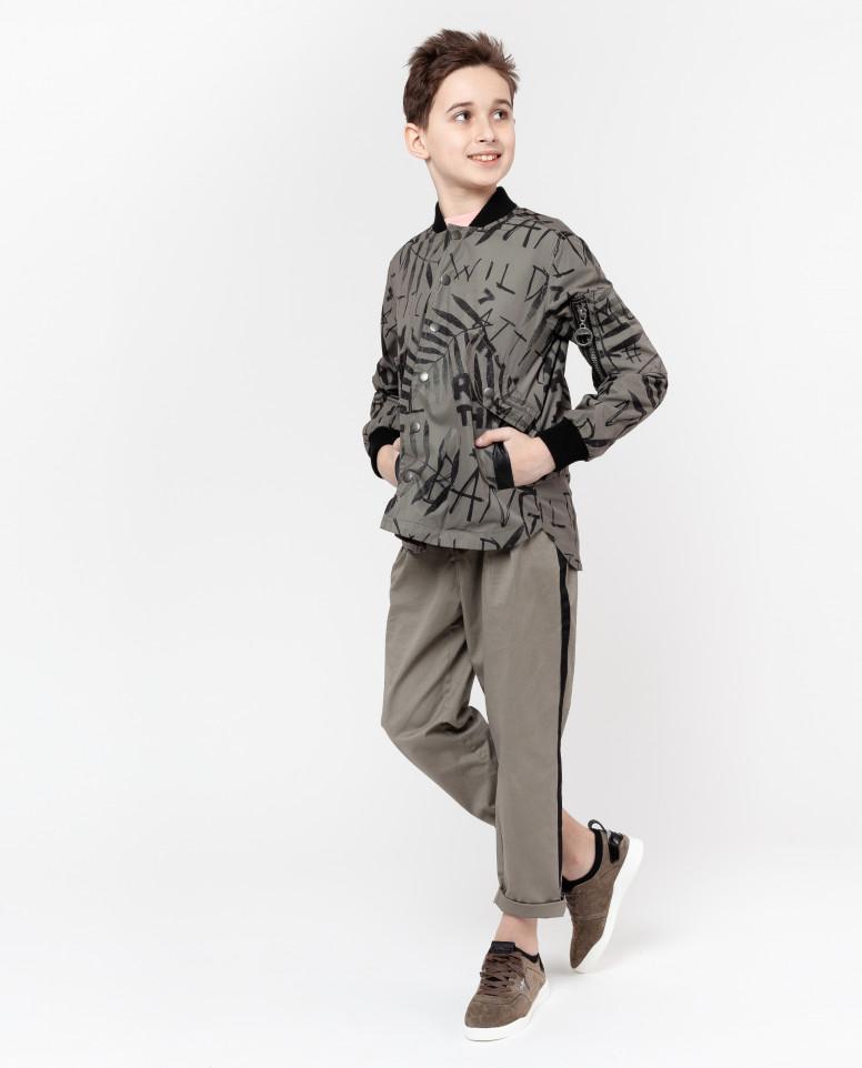 Рубашка цвета хаки с принтом