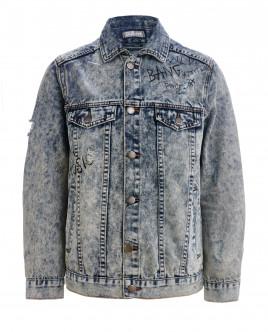 Джинсовая куртка с потертостями OUTLET
